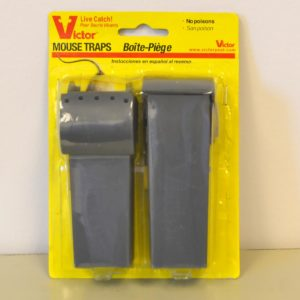 victor live mouse trap. Gray trap in yellow packaging.
